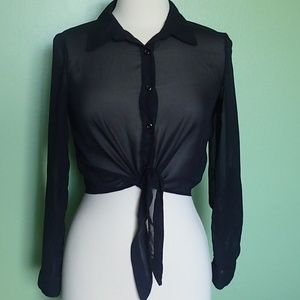 Bongo Black Sheer Top With Tie